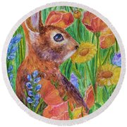 Rabbit In Meadow Round Beach Towel