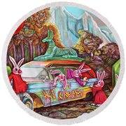Rabbits Selling Ice Cream From A Hearse Round Beach Towel