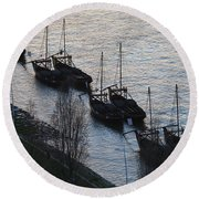 Rabelo Boats On Douro River In Portugal Round Beach Towel