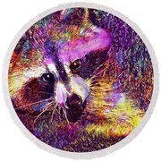 Raccoon Animal Cute Mammal  Round Beach Towel