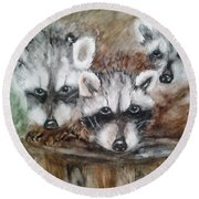 Raccoon Babies By Christine Lites Round Beach Towel