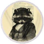 Raccoon Portrait, Animals In Clothes Round Beach Towel