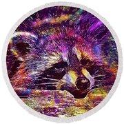 Raccoon Wild Animal Furry Mammal  Round Beach Towel