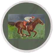 Race Horse Big Brown Round Beach Towel