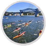 Race On The River Round Beach Towel by Tom and Pat Cory