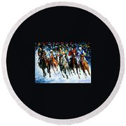 Race On The Snow Round Beach Towel
