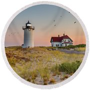 Race Point Light Cape Cod Square Round Beach Towel