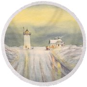 Race Point Lighthouse Provincetown Round Beach Towel