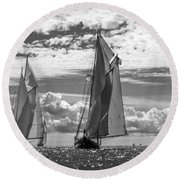 Racing On Open Waters B-w Round Beach Towel