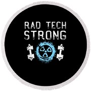 Rad Tech Strong Radiology Workout Round Beach Towel