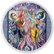 Radha Krishna - Cosmic Dance Round Beach Towel