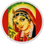Radha - The Indian Love Goddess Round Beach Towel