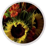 Radiant Sunflowers And Peruvian Lilies Round Beach Towel