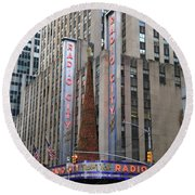 Radio City Music Hall New York City Round Beach Towel