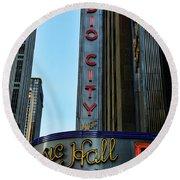 Radio City Music Hall Round Beach Towel by Paul Ward