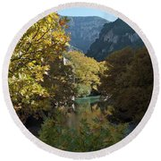 Rafting River Voidomatis Round Beach Towel