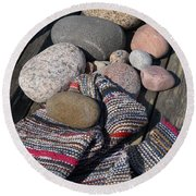 Rag Rugs With Stones And The Dock 3 Round Beach Towel
