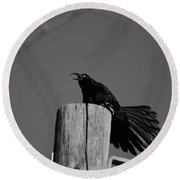 Raging Crow Round Beach Towel