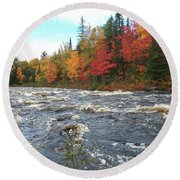 Raging Michigamme River Round Beach Towel