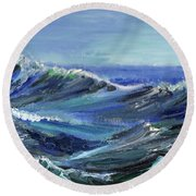 Raging Seas Round Beach Towel