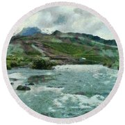 Raging Water Streams In The Hills Round Beach Towel