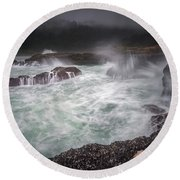 Raging Waves On The Oregon Coast Round Beach Towel