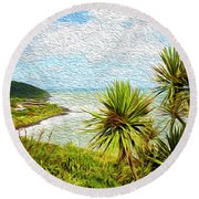 Raglan Coastline Round Beach Towel
