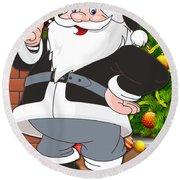Raiders Santa Claus Round Beach Towel