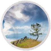 Rail Fence And A Tree Round Beach Towel