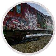 Railcar Graffiti Round Beach Towel