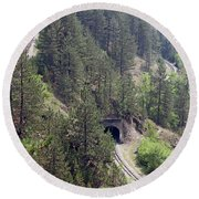 Railroad And Tunnels On Mountain Round Beach Towel
