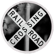Railroad Crossing Sign Round Beach Towel