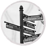Railroad Directions_bw Round Beach Towel
