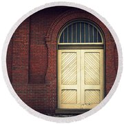 Railroad Museum Door Round Beach Towel