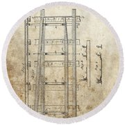 Railroad Switch Patent Round Beach Towel