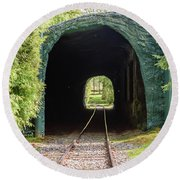 The Railway Passing Through The Tunnel To Meet The Light Round Beach Towel