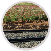 Rails And Roses Round Beach Towel
