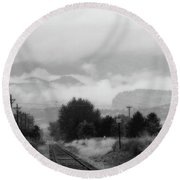 Railway Into The Clouds Bw Round Beach Towel