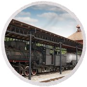 Railway Station With Old Steam Locomotive Round Beach Towel