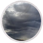 Rain Cloud Near Miss Round Beach Towel