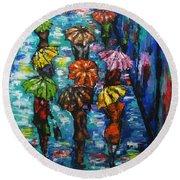 Rain Fantasy Acrylic Painting  Round Beach Towel
