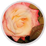 Rain Flower Rose Round Beach Towel
