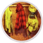 Rain Gear And Red Plaid Jacket Round Beach Towel