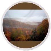 Rain In Smokies Round Beach Towel
