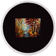 Rain In The Woods Round Beach Towel