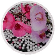 Rain On Orchids Round Beach Towel