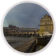 Rain Over Prague Round Beach Towel