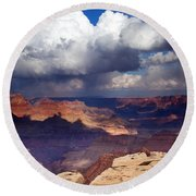 Rain Over The Grand Canyon Round Beach Towel