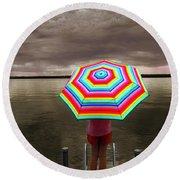 Rain Rain Go Away Round Beach Towel