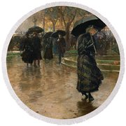 Rain Storm Union Square Round Beach Towel by Childe Hassam